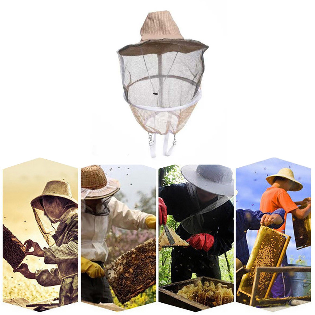 Beekeeping Cowboy Hat Mosquito Bee Insect Bug Veil Net Hat Face Protector Safety