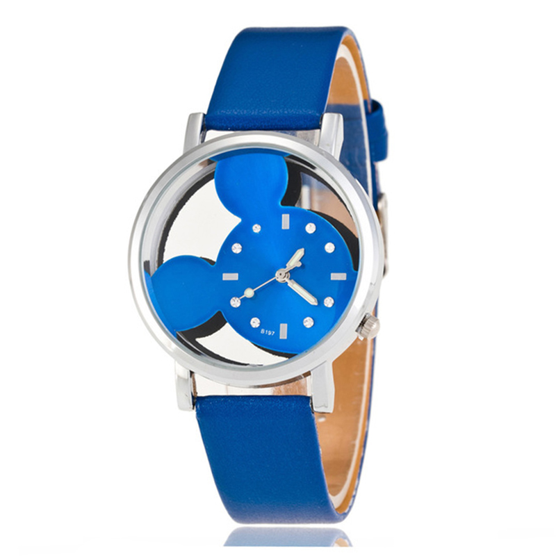 2019 Fashion Cool Mickey Mouse Cartoon Watch For Children Girls Leather Digital Watches For Kids Boys Christmas Gift Wristwatch