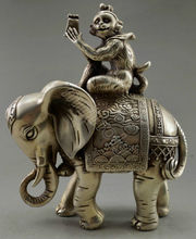 Collectible Old Decorate Tibet Silver Monkey Hold Seal Officer Elephant Statue