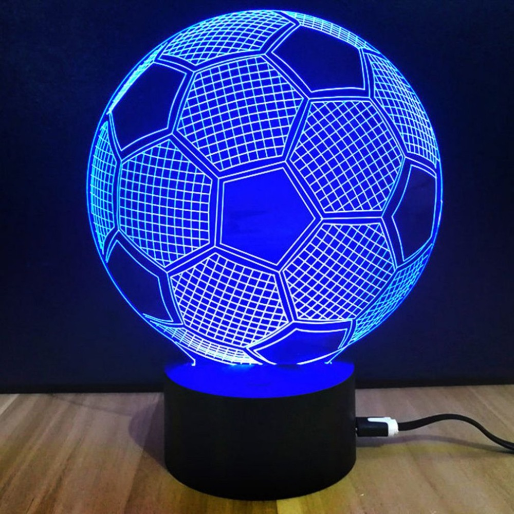 Souvenir Gift Colorful Touch Switch Table Desk Light 3D Acrylic LED Night Light Lamp Acrylic Atmosphere Light For Football Fan