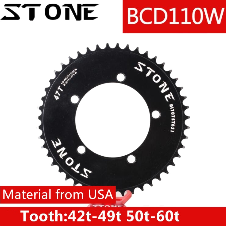Stone 110 BCD round chainring aero fixed gear track bike fixie single speed 42T 46T 48T