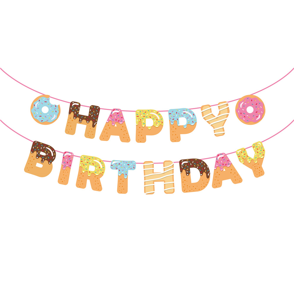 Donut Happy Birthday Party Banner Girls Sweet Theme Birthday Party Decoration Baby Shower Party Supplies BA149Donut Happy Birthday Party Banner Girls Sweet Theme Birthday Party Decoration Baby Shower Party Supplies BA149