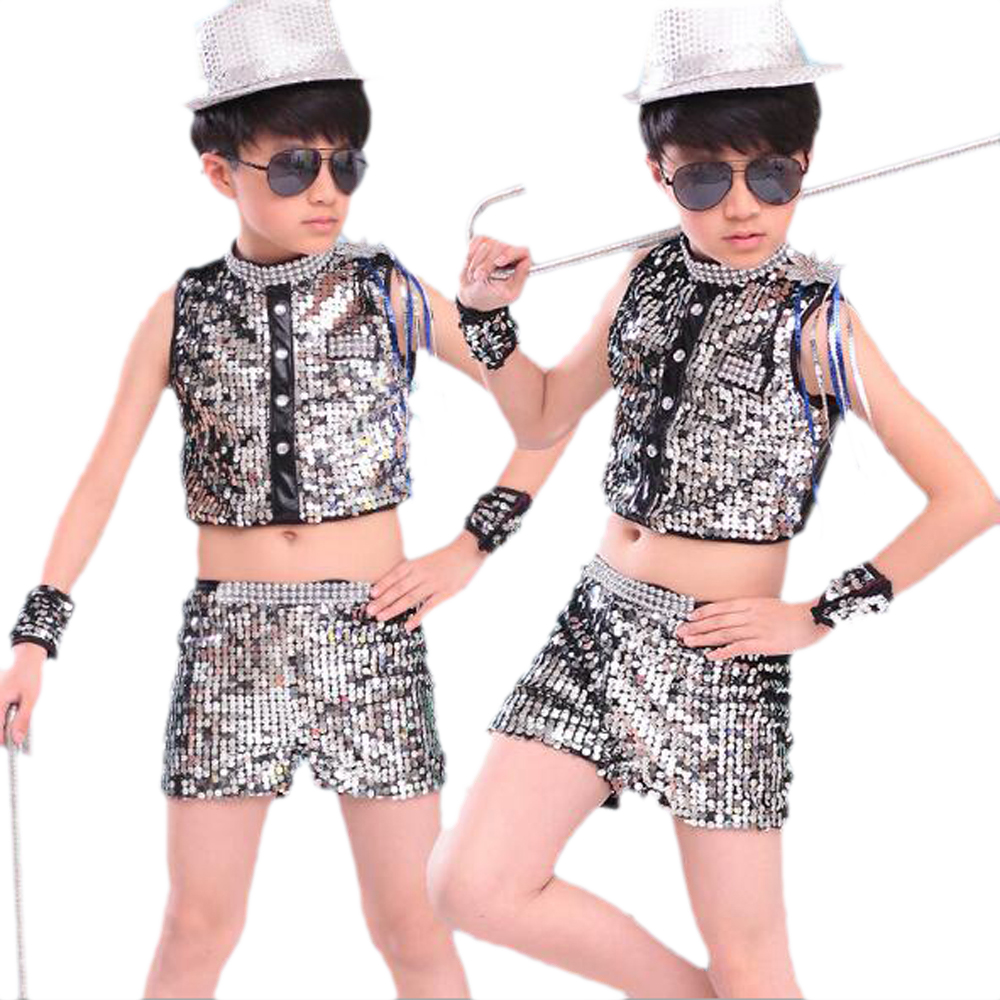 Blue Silver Kids Jazz Dance Suits 100-160cm Boy Girls Hip Hop Costumes Children Stage Performance Summer Jazz Dancing Wear