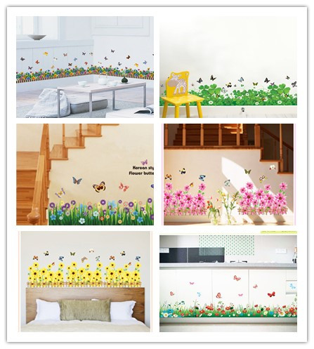 3D трава пышность талии плинтус гостиная стены наклейки home decor маленькие цветы бабочки съемный водонепроницаемый наклейки ПВХ
