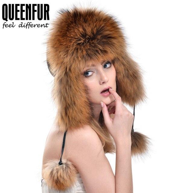 QUEENFUR Real Fox Fur Cap 2016 Women's Genuine Raccoon Fur Hat With Genuine Leather Top Bomber Hats Multicolor Winter Warm
