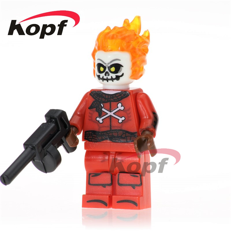 Single Sale Blazing Skull Invisible Woman Human Torch Super Heroes Bricks Building Blocks Collection Children Gift Toys PG235