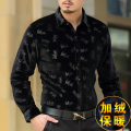2016 Winter new arrival gold velvet boutique long-sleeved shirt Plus velvet thick silk warm fashion slim quality men shirt M-3XL