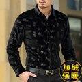 2016 llegada Del Invierno nueva boutique de manga larga de terciopelo de oro, Además de terciopelo de seda gruesa caliente delgado de la manera hombres de calidad camiseta M-3XL