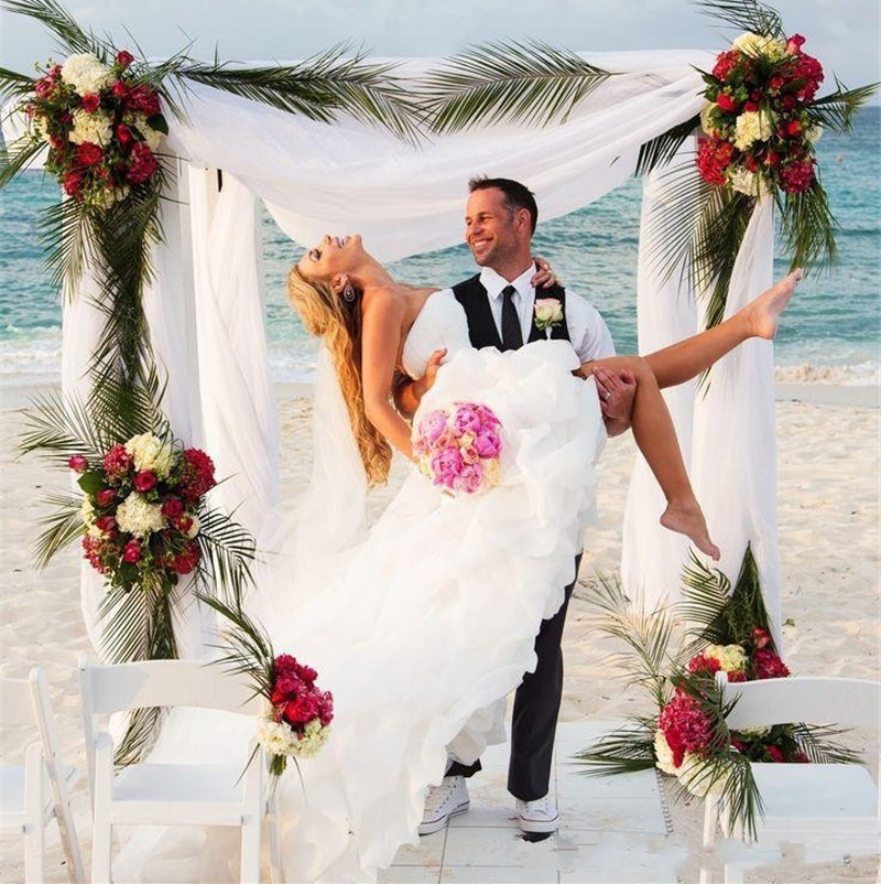 Vestiti Cerimonia Donna White New Arrival Sweetheart Organza Ruffles Front Short Long Back 2018 Bridal Gown bridesmaid dresses