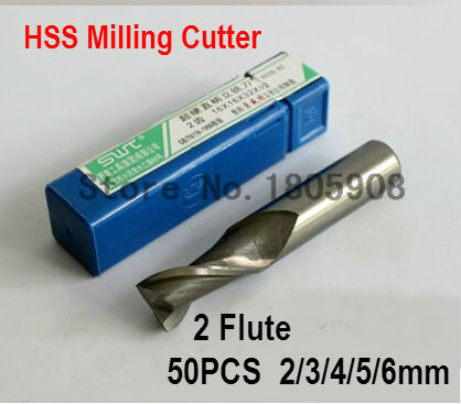 Free shipping 2F 2 3 4 5 6mm 2 Flute Milling Cutter CNC milling cutter rotary