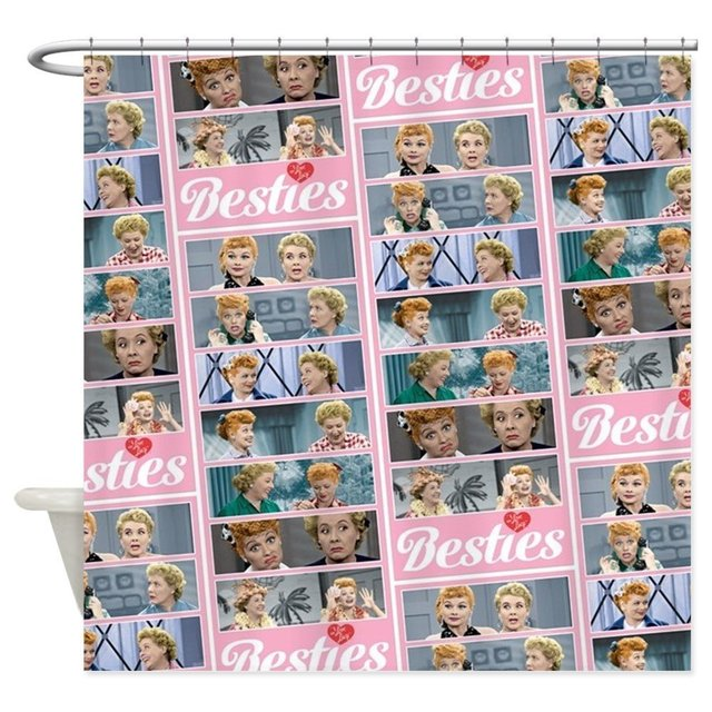 I Love Lucy Besties Pattern Decorative Fabric Shower Curtain For Bathroom Waterproof Polyester