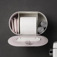Push button three wall wall mounted dustproof tissue box Ladies sanitary napkin storage box Garbage bag storage box