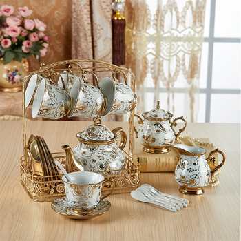 British Top-grade Tea Cup And Saucer Set European Ivory Ceramic Coffee Cups Set Ceramic Advanced Porcelain Cup For Gifts
