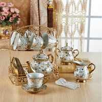 British Top grade Tea Cup And Saucer Set European Ivory Ceramic Coffee Cups Set Ceramic Advanced Porcelain Cup For Gifts