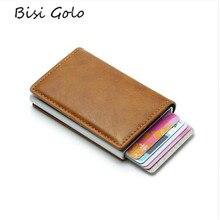 368f1a157 BISI GORO antirrobo Vintage titular de la tarjeta de crédito de bloqueo  Rfid Cartera de cuero