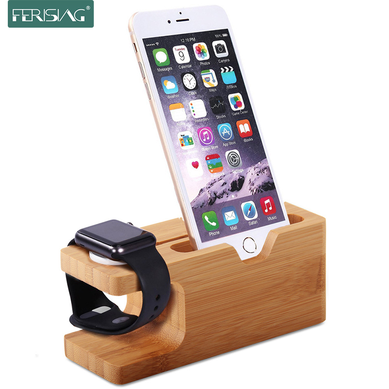 100% Bamboo wood Desktop Stand for Samsung S8 redmi 4X 4A Bracket Docking Holder Charger for iPhone 6 7 watch Charging Dock