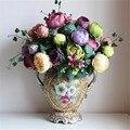 [12 cabezas de las flores] Ramo de Peonía Árbol Paeonia Suffruticosa Seda Flowe