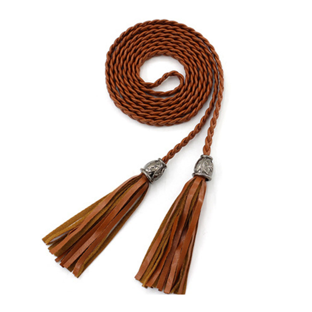 Narrow Rope Braided Solid For Dress Decoration Skinny Tassel Artificial PU Thin Self Tie Daily Women Waist Belt Waistband