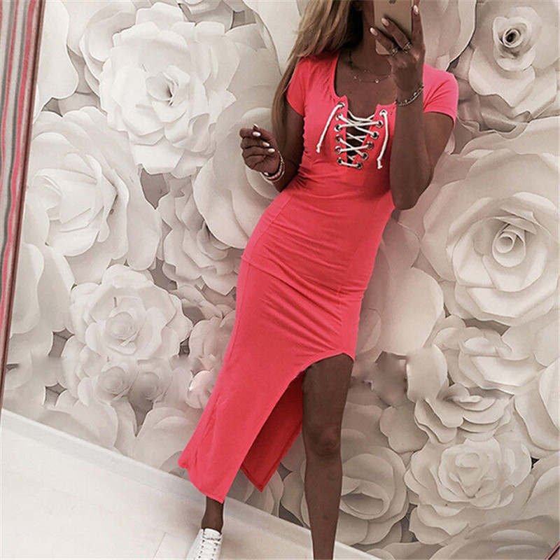 Fashion Women Short Sleeve Summer Dress Bodycon Stretchy Evening Party Slim  Fit Bandage Dress Pure Color c26f176e3b78