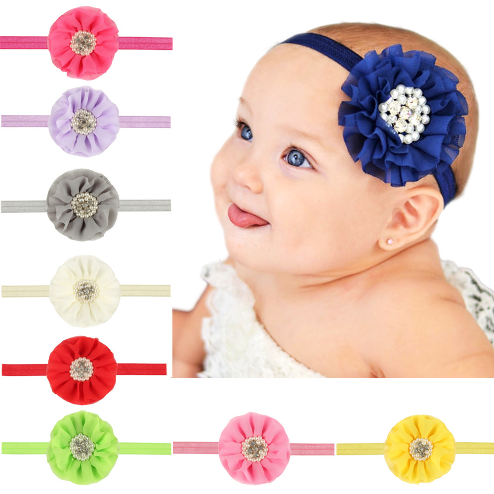 baby girl headband Infant hair accessories cloth Tie bow newborn tiara headwrap pearl Toddlers bandage Ribbon crystal   Headwear