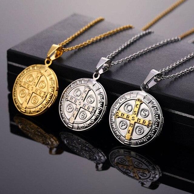 Religiosa San Benito Bento Santo Medalha Cruz Colar de Aço Inoxidável Colares & Pingentes Para As Mulheres Homens Jóias Santo Medalla