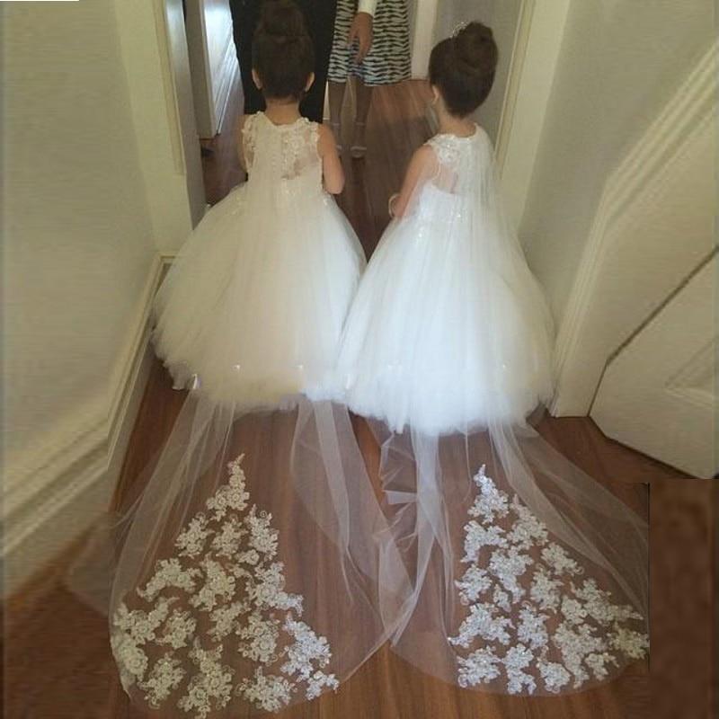 2016 Elegant White Tulle Flower Girl Dresses for Weddings