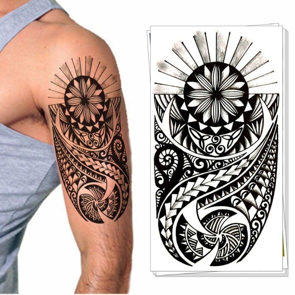 Maori Totem Design Flash Tatuagem Temporária Adesivo de Transferência de Água Arte Corporal Tatoo Tatto Flash de Verão À Prova D' Água 3-5 Dias
