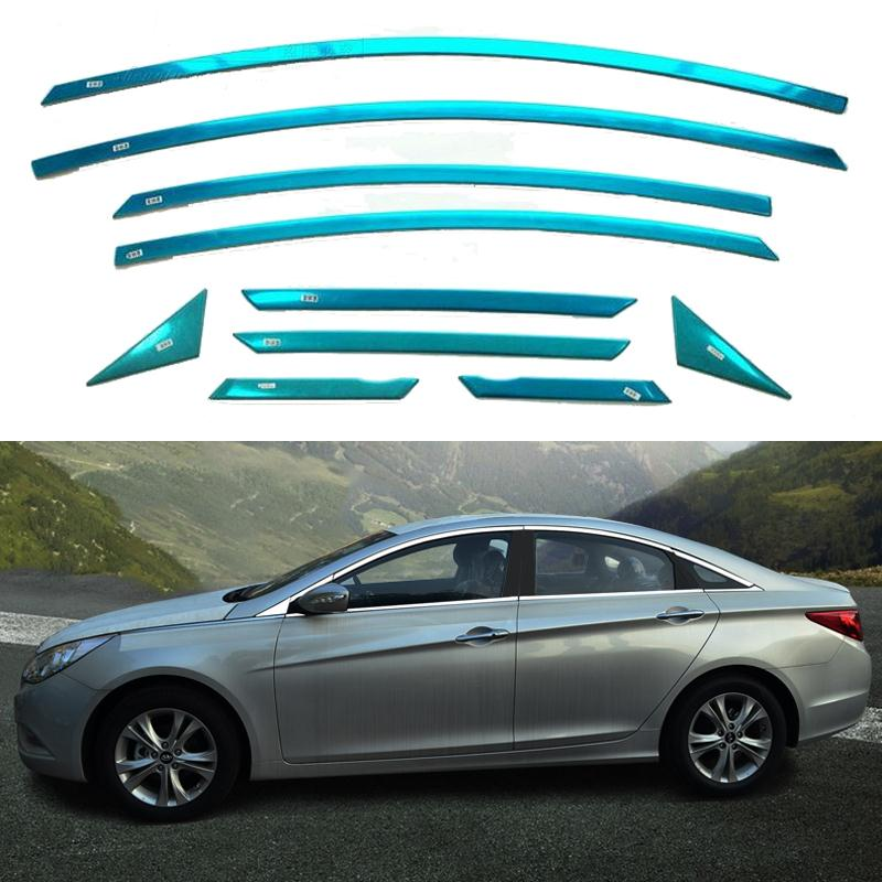 Car Accesseries Styling Stainless Steel Strips For Hyundai Sonata 2010 2011 2012 2013 Full Window Trim Decoration OEM-16-10 high quality stainless steel window trim cover up down posterior triangle a set of 10pcs for 2010 2012 hyundai ix35