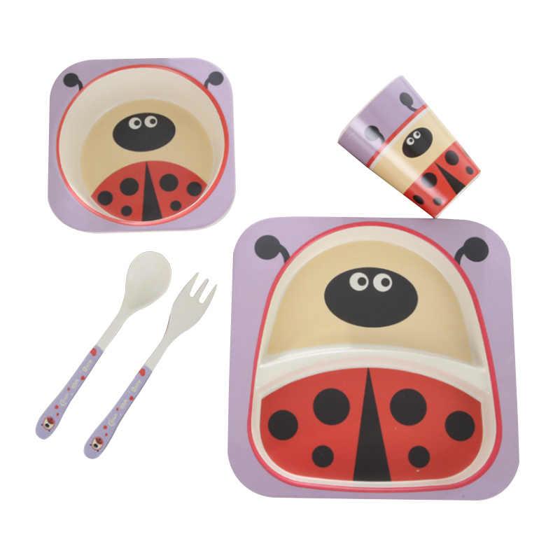 5 ชิ้น/เซ็ตจานเด็กชุดการ์ตูนส้อมอาหารสำหรับเด็กเครื่องครัวชามถ้วยช้อนแผ่นไม้ไผ่เส้นใยสิ่งแวดล้อม