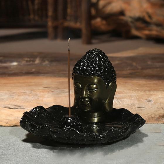 Buddha hlava keramická aromaterapie kadidlo držák na vonné - Dekorace interiéru - Fotografie 3