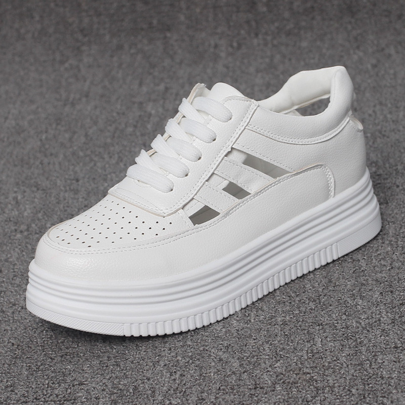 Height Increasing 6CM Summer White Wedge Platform Sneakers Woman Casual White Platform Wedges Shoes for Women Wedge Flat Shoes in Women 39 s Vulcanize Shoes from Shoes