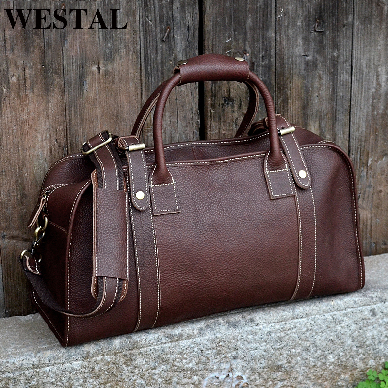 WESTAL Men's Multi-purpose Travel Bags Leather Travel Duffle Bag Genuine Leather Men Bags Suitcase Weekend Bag Carry On Luggage canvas leather men travel bag carry on luggage bags men hand casual travel duffel bags tote large weekend bag overnight