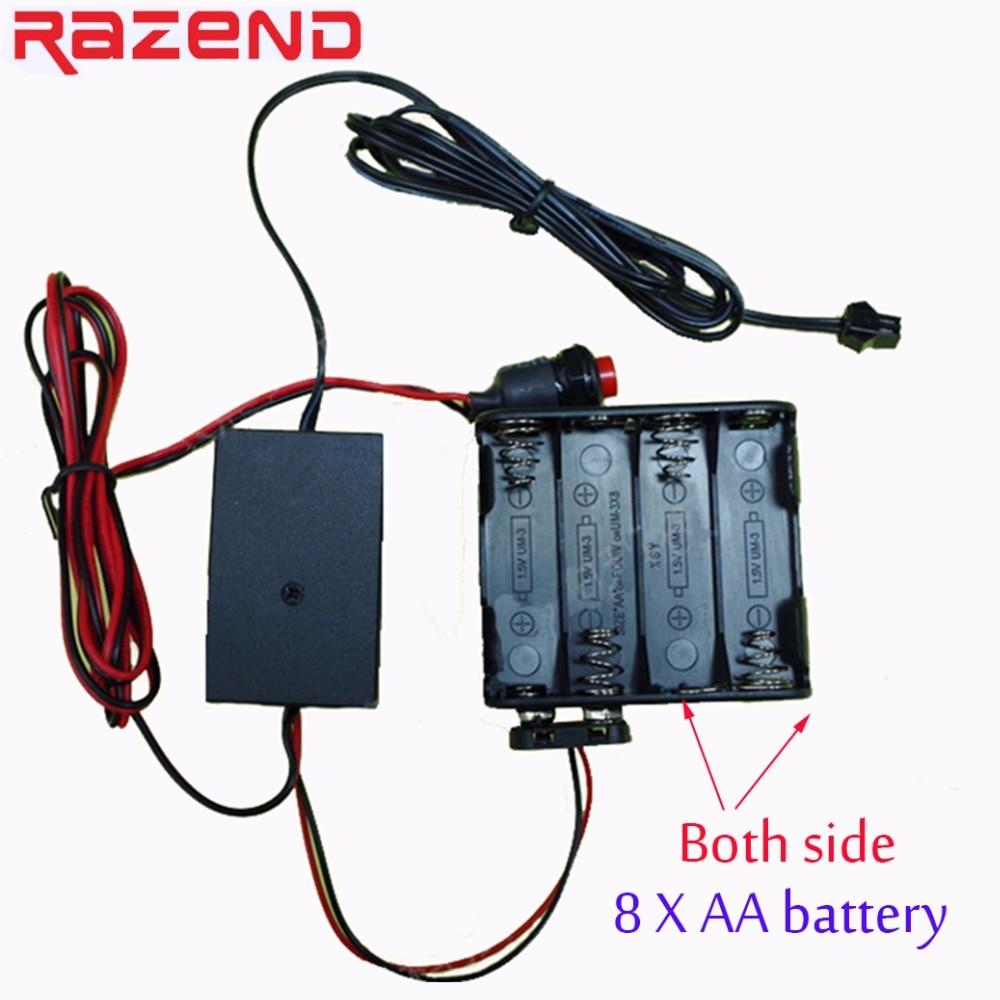 8 AA Battery Case 12V Inverter Box Driver For 1m 3m 5m 10m 15m 20m Flexible  Glow EL Wire Tape Led Neon