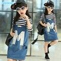 free shipping Children's clothing female child autumn child 2015 long-sleeve T-shirt denim braces skirt twinset
