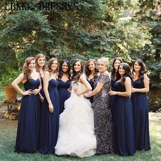 Long Chiffon Strapless   Bridesmaid     Dresses   Sleeveless Sweetheart Wedding Party   Dress   A Line Simple Robe Demoiselle D'honneur