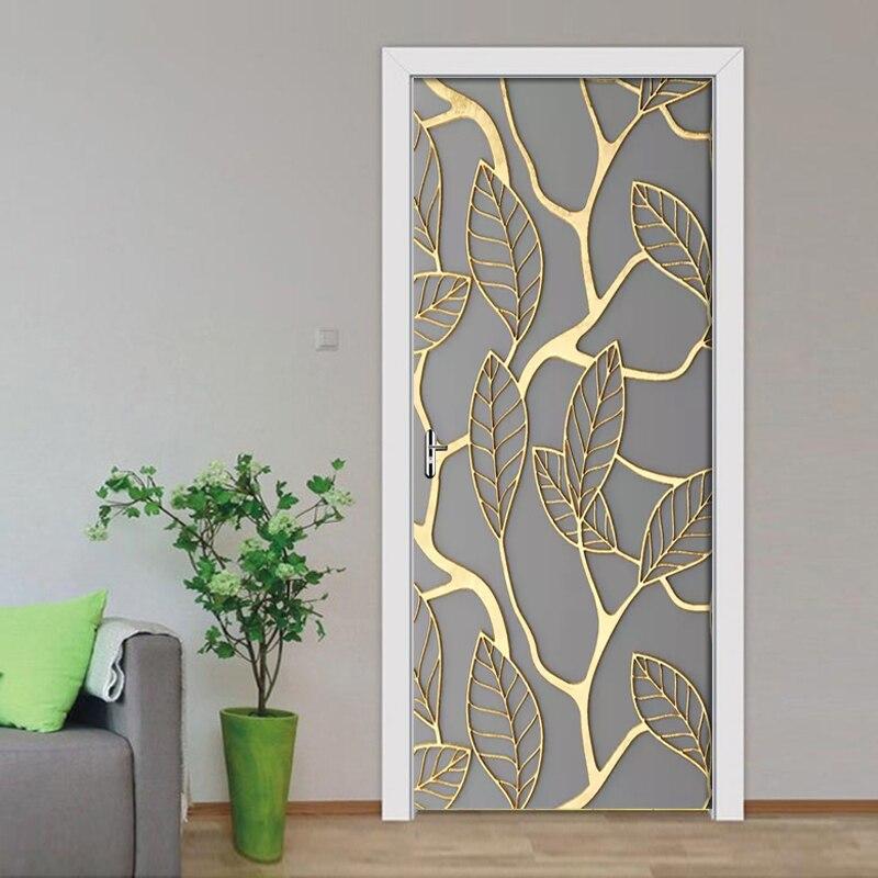 DIY decoración del hogar 3D puerta pegatina hoja de oro foto de protección del medio ambiente Auto adhesivo impermeable papel pintado lienzo impreso arte
