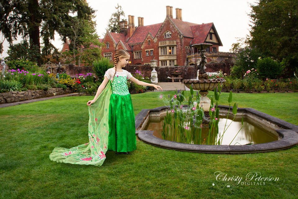 princess castle garden pool grass background Vinyl cloth High quality Computer print children kids backdrop