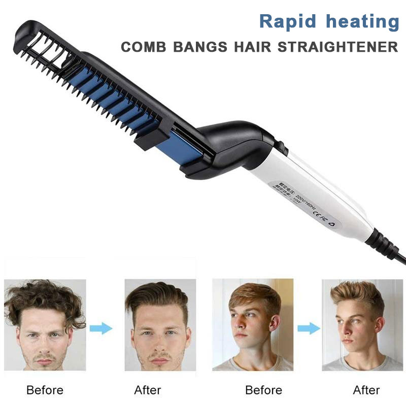 Beard Straightener Men Quick Beard Straightener Styler Comb Multifunctional Hair Curling Curler Show Cap Tool Beard Straightener