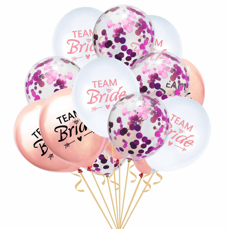 15 stks/set 12 inch Team Bruid Om Latex Ballon Bruiloft Decoratie Confetti Hen Bachelorette Party Ballonnen Bruids Douche Gunsten