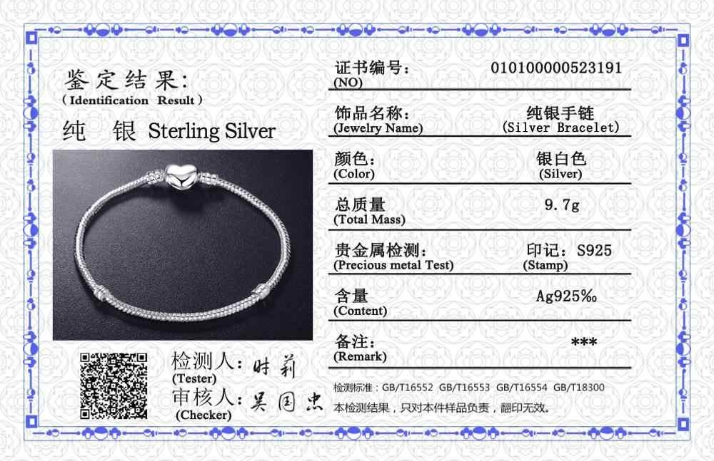 ส่งใบรับรอง! Original 925 Silver Charm สร้อยข้อมือ Handmade DIY ลูกปัดของขวัญเครื่องประดับ 16 ซม. 17 ซม. 18 ซม. 19 20 ซม. 21 ซม. 22 ซม. 23 ซม. ZSL191