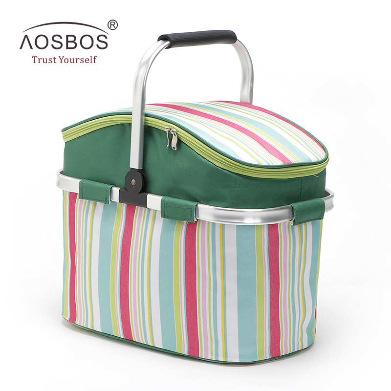Aosbos Foldable Striped Lunch Bag Thermal Insulated Large Picnic Bag Food Container Storage Basket Portable Oxford Cooler Bags large 34l insulated picnic bag lunch bag outdoor camping hiking picnic bags portable food storage basket handbags lunch box