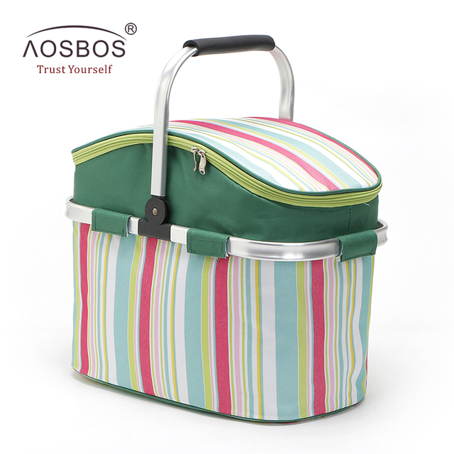 Aosbos Foldable Striped Lunch Bag Thermal Insulated Large Picnic Food Container Storage Basket Portable Oxford