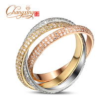 Three Color Wedding Band Solid 14k Gold 2.50ctw Diamonds Wedding Band Ring