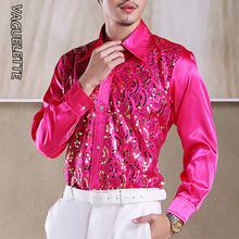 VAGUELETTE Luxury Sequins Ruffles Tuxedo Shirts For Men Red/Pink Wedding Stage Clothes Formal&Casual Shirt Men Long Sleeve S-L цены