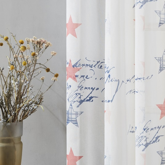 YokiSTG Children Sheer Curtains Blue & Red Stars Curtains For Living Room Kids Baby Room Tulle For Window Treatment Drapes