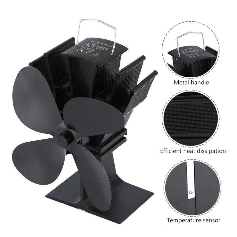 Wood Burner Stove-Fan Fireplace Heat-Distribution Heat-Powered 4-Blade Home Log Black