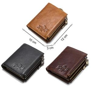 Image 5 - 연락처 정품 가죽 RFID 남자 지갑 신용 카드 소지자 지갑 동전 주머니 키 남자 체인 walet 남성 걸쇠 지갑