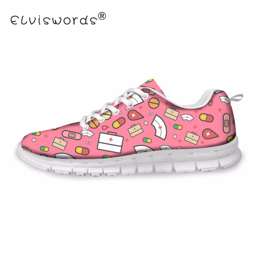 ELVISWORD Cartoon Cute Pink Nurse Printed Women Casual Flats Sneakers Fashion Women's Comfortable Breathable Shoes Flat Woman instantarts fashion women flats cute cartoon dental equipment pattern pink sneakers woman breathable comfortable mesh flat shoes