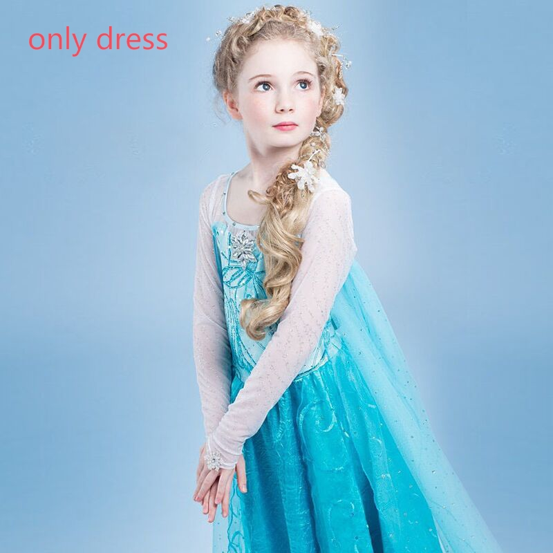 HTB1SQcnc56guuRkSmLyq6AulFXa7 Fancy 4-10y Baby Girl Princess Elsa Dress for Girls Clothing Wear Cosplay Elza Costume Halloween Christmas Party With Crown