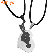 Anniyo Heart Pendants Rope,LOVE YOU Stamp Romantic lovers Stainless Steel Jewelry,Boyfriend Girlfriend & Wife Gifts #200321(China)
